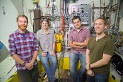 From left, Scientific Laboratories team member Nathan Helton, and NOMAD team members Joan Siewenie, Mikhail Feygenson and John Carruth made sure a potentially hazardous experiment went right. Image credit: Genevieve Martin/ORNL.