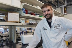 Drew Marquardt, together with fellow UWindsor researchers James Gauld and Charu Chandrasekera, is exploring how an ingredient in vapes and e-cigarettes poses complications for those infected with the virus that causes COVID-19. (credit: University of Windsor)