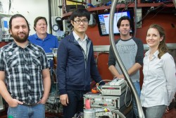 A team of Oak Ridge National Laboratory (ORNL) and Indiana University researchers has successfully tested their first Wollaston Prism pair at the High Flux Isotope Reactor (HFIR) beam line HB-1. Image credit: Genevieve Martin/ORNL