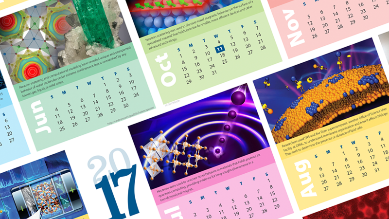 A calendar poster showcasing some recent scientific publications from HFIR and SNS. Image credit: Jill Hemman/ORNL