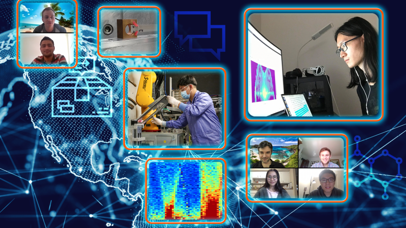ORNL's remote access experiment program enables scientists around the world to use the laboratory's neutron sources during the pandemic. By sending samples to the lab and providing remote, real-time direction to ORNL instrument scientists, external researchers can take part in various neutron experiments without setting foot on campus. Pictured top-right, clockwise: Xing He, Olivier Delaire, Jack Bateman, Jingxuan Ding, Shan Yang, Minh Phan, Mayank Gupta, Tyson Lanigan-Atkins. Credit: ORNL/Jill Hemman