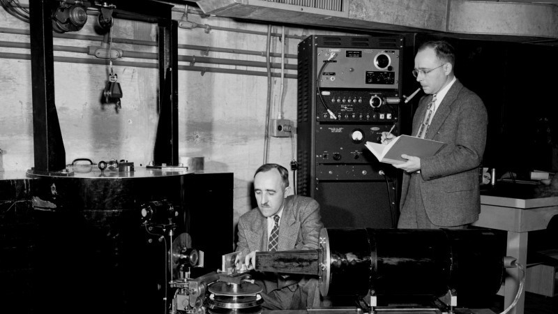 Ernest Wollan (left) and Clifford Shull (right) performing neutron diffraction research at ORNL's X-10 Graphite Reactor in 1949. Image credit: ORNL