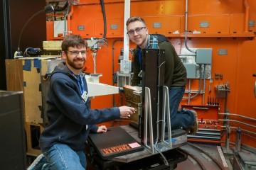 Colorado School of Mines graduate student researchers (left) Ben Schneiderman and Tim Pickle using n