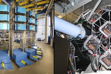 Detectors at SNS and HFIR help researchers study scattered neutrons to better understand the nature of materials. An ORNL team designs detectors tailored to meet the specifications of each instrument, such as the WLS detectors installed at the recently upgraded POWGEN, SNS beamline 11A (left), and the Anger cameras installed at MaNDi, SNS beamline 11B (right). (Image credit: ORNL/Genevieve Martin)