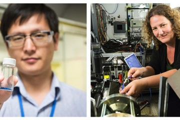 The Neutron Sciences Directorate's two most recent distinguished fellows, Panchao Yin (left) and Bianca Haberl (right), are making major contributions to their respective fields. Image credit: Genevieve Martin/ORNL