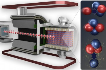 The n-helium-3 precision experiment, conducted at ORNL, measured the weak force between protons and neutrons by detecting the tiny electrical signal produced when a neutron and a helium-3 nucleus combine and then decay as they move through the helium gas target cell. Credit: Andy Sproles/ORNL, U.S. Dept. of Energy